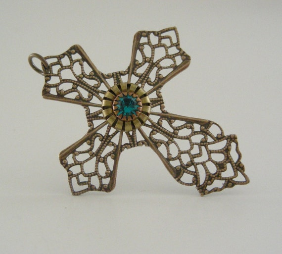 Vintage CROSS Pendant Brass Filigree with Teal Green Rhinestone for Necklace