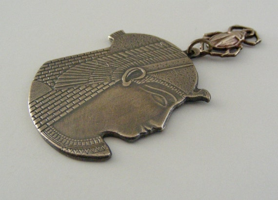 Vintage Pendant QUEEN CLEOPATRA and SCARAB  Brass