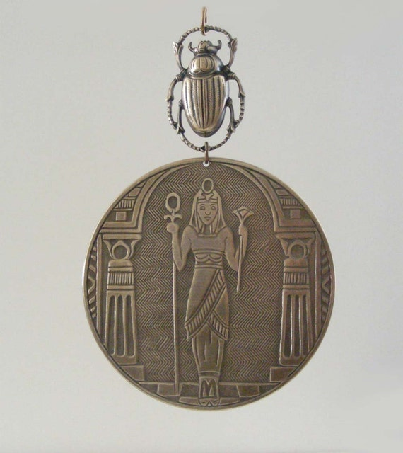 Vintage Brass Stamping - Egyptian Necklace - Statement Pendant - Goddess CLEOPATRA and SCARAB -  DIY Necklace - Handmade
