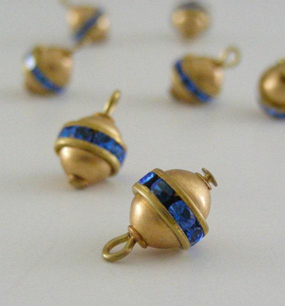Sapphire Blue Rhinestone Drops - Steampunk Vintage SWAROVSKI Sphere Round Ball Drops 2 PIECES