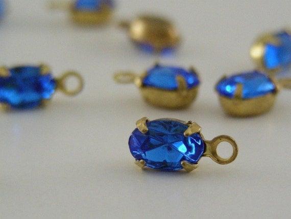 Rhinestone drops Vintage Royal Sapphire Blue  SWAROVSKI - 6 PIECES
