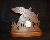 Pheasant Taking Flight Handcrafted Wood Shelf or Desk Clock