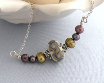 Khaki Necklace - Lampwork, Freshwater Pearl and Sterling Silver