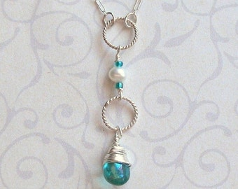Azure Teardrop Necklace - Wire Wrapped Briolette - Made to Order