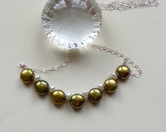 Olive Pearl Necklace - Made to Order