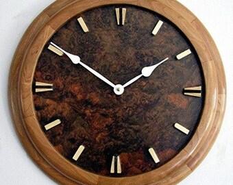 Wall Clock--Art Deco--Cherry Surround