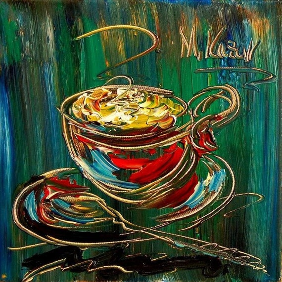 COFFEE  INSTRUMENTS  original painting by Mark Kazav on stretched canvas Canadian artist
