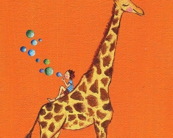 Print of Orange Giraffe