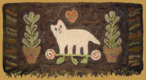 Rug Hooking Pattern Cat with Plants
