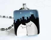 City Cats in Love - Night Time Colors - Glass Pendant