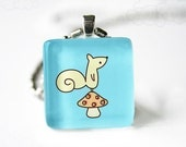 Little Squirrel on Blue - Glass Pendant