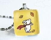 Autumn Bunny on Yellow - Glass Pendant