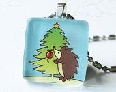 Hedgehog Decorating Christmas Tree - Glass Pendant
