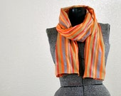 Wide Orange Stripe Cotton Fabric Scarf