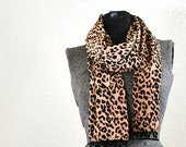 Beaded Leopard Print Fabric Scarf - Purrfect Cat Print Scarf