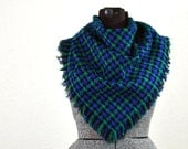 Blue and Green Plaid Almost Square Chenille Fabric Scarf