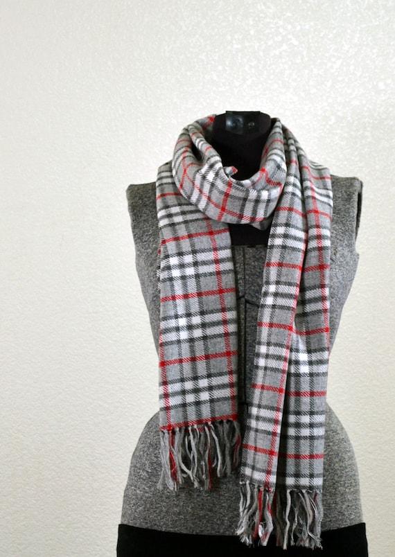 Long Grey and Red Plaid Italian Wool Fabric Scarf