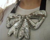 Silver Sequin Bow Bib Collar Necklace