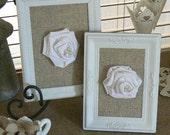 Framed Shabby Chic Fabric Roses   on Burlap/Linen backing