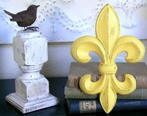 Cast Iron  Upcycled   Sunny Yellow  Wall  Decor  French   Fleur De Lis