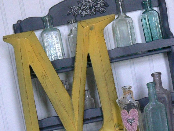 French Country  Upcycled   Wall Letter  M   in   Sunflower Yellow