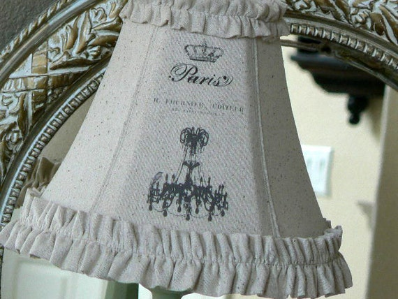 French    Shabby Chic Cottage  Custom    Linen    Paris  Chandelier   Ruffled Lamp Shade