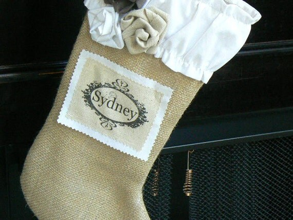 Burlap  Christmas Stocking   Shabby Chic with Ruffled White Cotton Cuff and Custom Name Tag