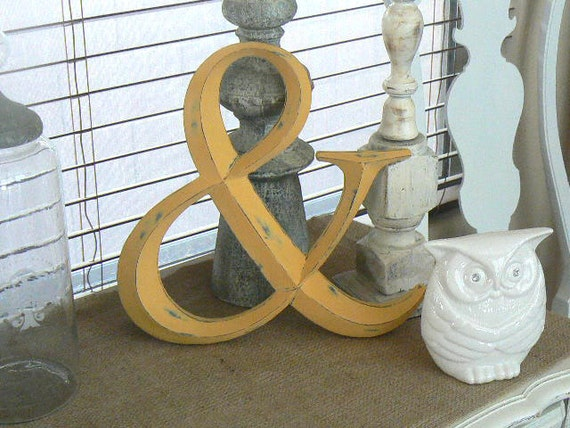 Ampersand   Wall Decor   in Mustard Yellow  French Country Chic