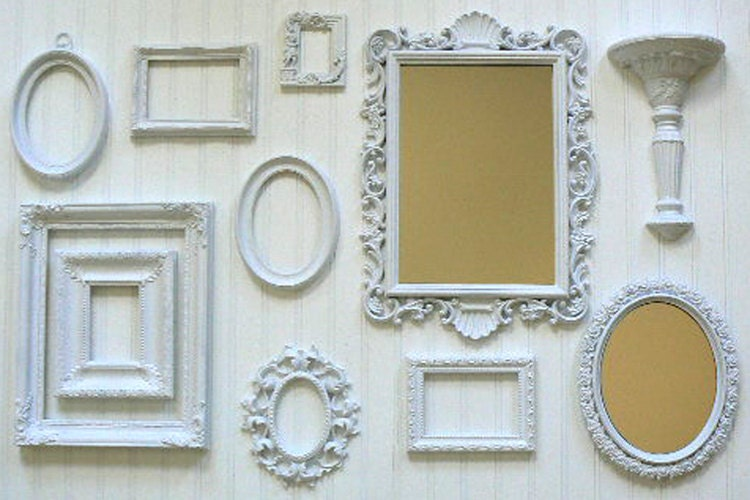 shabby chic wedding white wall frame collection with - White Wall Frames