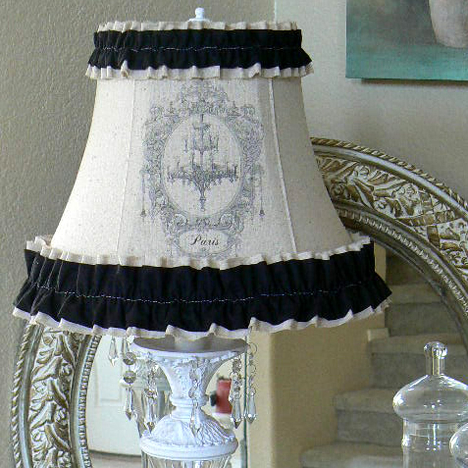 lamp shade linen paris shabby chic with black ruffle and. Black Bedroom Furniture Sets. Home Design Ideas