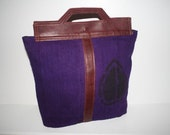 Tribal Purple Cowrie Shell Mudcloth and  Leather Travelers Tote