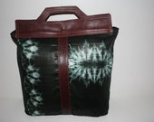 Teal  Travelers Tote Bazin and Leather African Bag