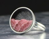 Circle Pink Rhodochrosite and Silver Ring