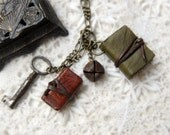 RESERVED for Barb - Country Collection Necklace - Handmade Leather Miniature Wearable Books with Vintage Key and Rustic Bell