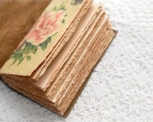 The Rose Notebook - Reclaimed Rustic Brown Leather Notebook with Tea Stained Pages