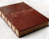 A Taste of Paris - Brandy Leather Journal / Sketchbook with Tea Stained Pages