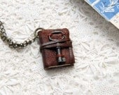 Le Petit Memoir - Rustic Brown Leather Miniature Wearable Book with Tea Stained Pages & Tiny Rare Antique Key