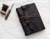 The Chocolate Novelist - Weathered Brown Leather Journal with Rustic Tea Stained Pages