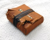 The Bundler - Rustic Burnt Orange Leather-Wrapped Journal with Tea Stained Pages & Vintage Altered Clock Hand