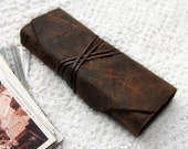 The Rustic Ledger Book - Distressed Dark Brown Leather Notebook with Tea Stained Pages