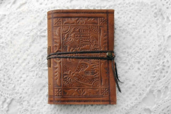 The Journeyman - Handmade Vintage Leather Journal with Tea Stained Pages