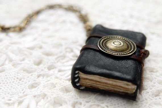 Turkoman - Mini Black Leather Wearable Book with Vintage Metal Button