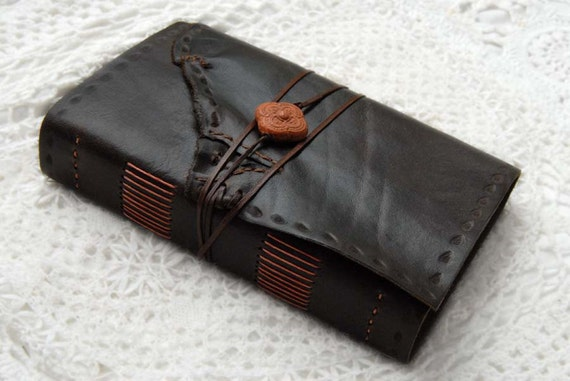 Terracotta Tales - Dark Brown Reclaimed Leather Journal with Tea Stained Recycled Pages & Moroccan Terracotta Bead