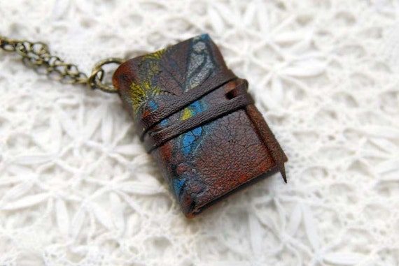 RESERVED The Rider No.2 - Antique Leather Wearable Mini Journal with Tea Stained Pages