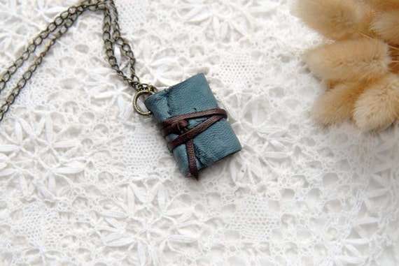 ON SALE - Blue Suede Thoughts - Mini Blue Suede Leather Wearable Book with Tea Stained Pages