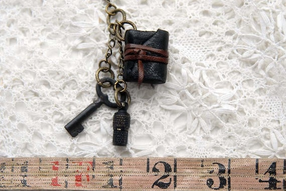 The Secrets Inside - Black Leather Miniature Wearable Book with Tea Stained Pages, Tiny Antique Key & Miniature Secret Storage