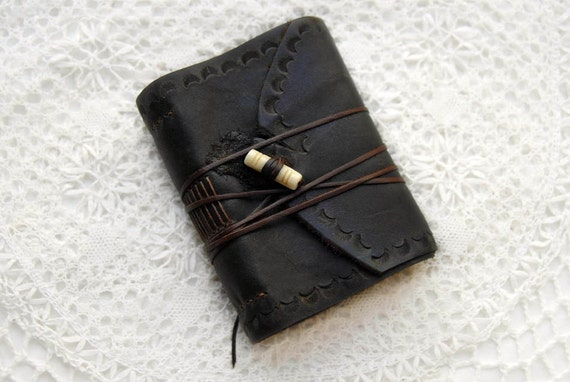 The Little Commuter - Small Rustic Dark Brown Leather Journal, Hand Embossed with Tea Stained Pages