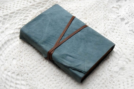 Smoky Blue Wanderlust - Blue Reclaimed Leather Soft Cover Journal with Tea Stained Recycled Pages & Florentine Paper