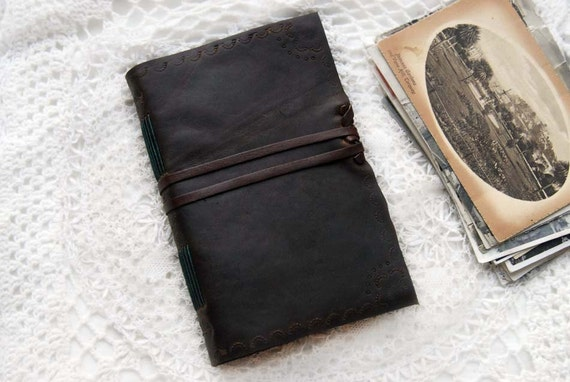 Winged Words - Rustic Brown Embossed Leather Journal with Tea-Stained Recycled Pages & Butterfly Endpapers