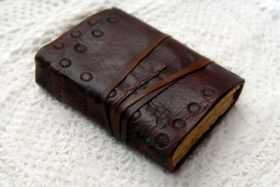 Contemplation - Weathered Rich Burgundy Leather Journal with 300gsm Rustic Tea Stained Pages